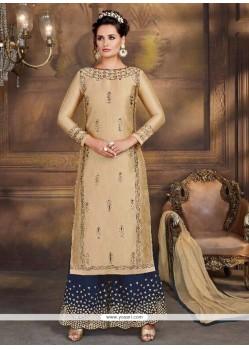 Lace Work Art Silk Designer Palazzo Suit