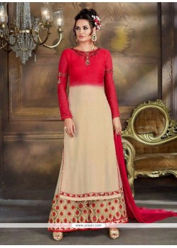 Beige And Red Designer Palazzo Suit