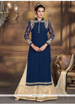 Faux Georgette Lace Work Designer Palazzo Suit