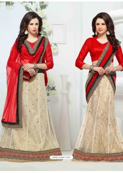 Cream And Red Net Designer Lehenga Choli