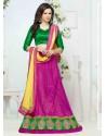 Green And Magenta Net Designer Lehenga Choli