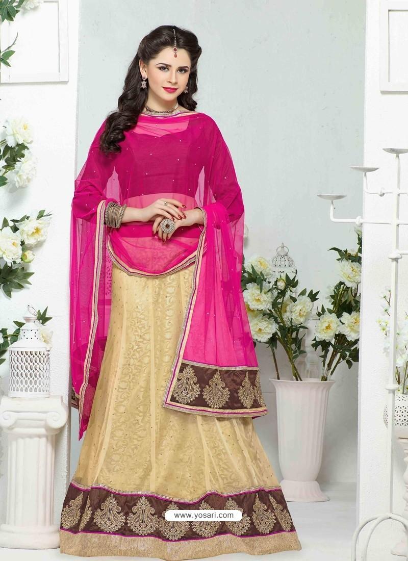 Cream And Brown Net Designer Lehenga Choli