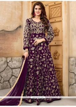 Purple Resham Work Floor Length Anarkali Suit