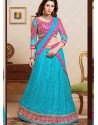 Pink And Sky Blue Net Designer Lehenga Choli