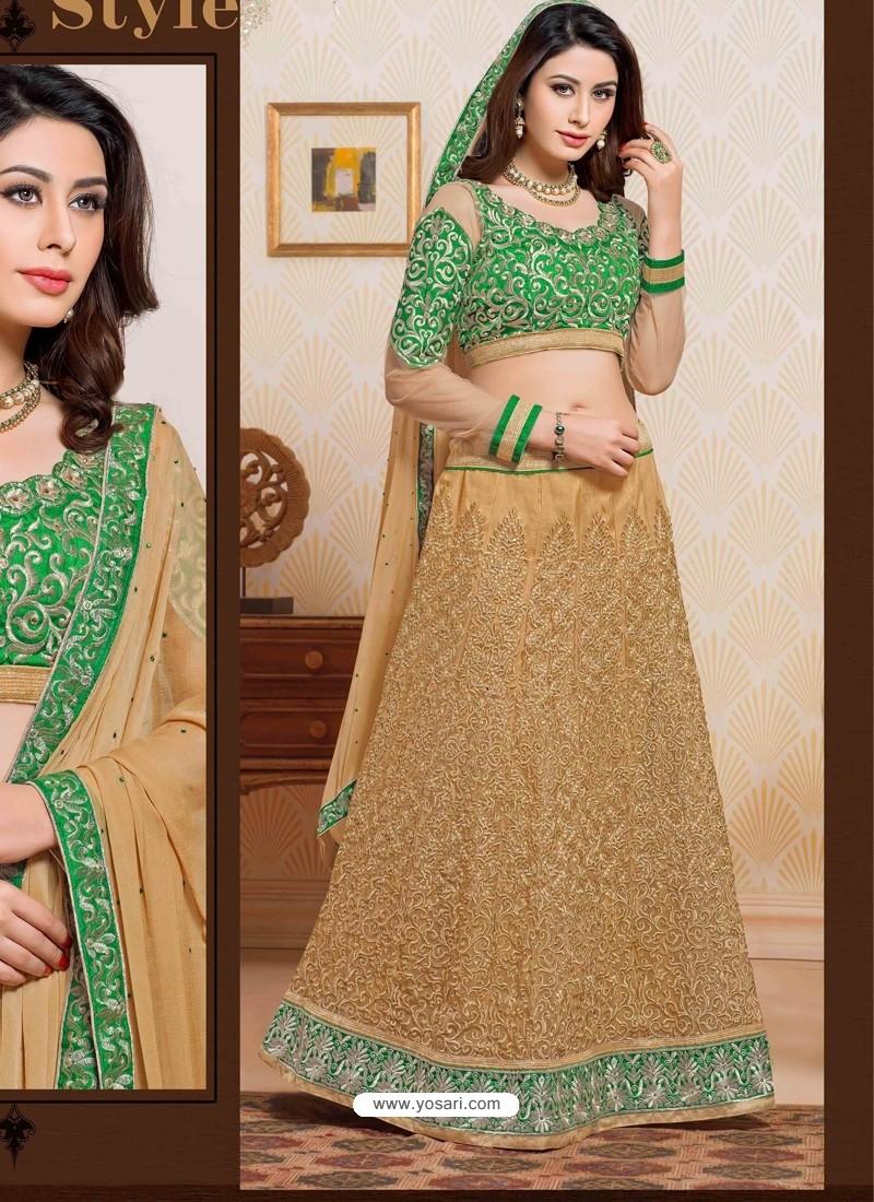 Green And Cream Net Designer Lehenga Choli