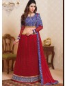Red And Blue Net Designer Lehenga Choli
