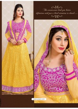 Pink And Yellow Net Designer Lehenga Choli