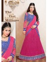 Blue And Pink Net Designer Lehenga Choli