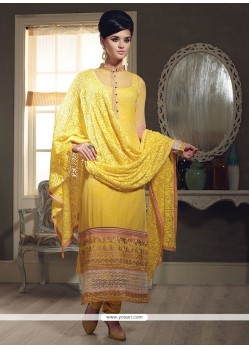 Yellow Georgette Embroidery Churidar Suit