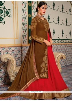 Patch Border Fancy Fabric Floor Length Anarkali Suit In Brown And Pink