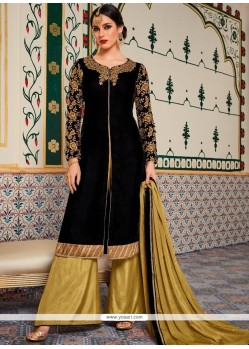 Beige And Black Designer Palazzo Suit