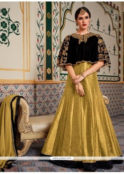 Beige And Black Fancy Fabric Floor Length Anarkali Suit