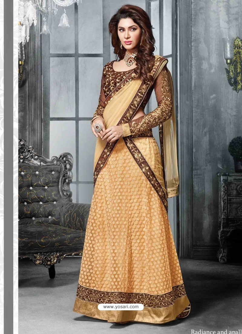 Cream And Brown Net Designer Lehenga Choli