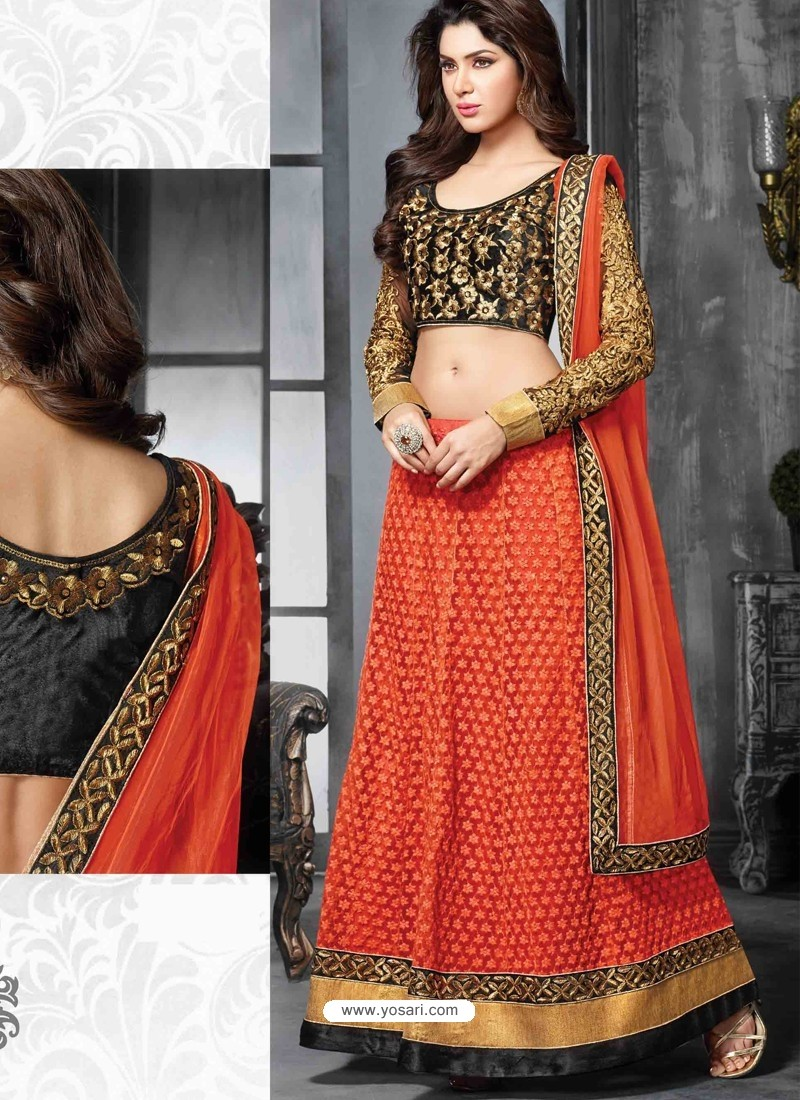 Orange And Black Net Designer Lehenga Choli