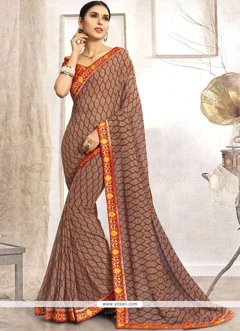 1306591afa5bae Buy Grey Patch Border Work Faux Georgette Casual Saree | Casual Sarees
