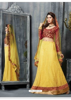Maroon And Yellow Net Designer Lehenga Choli