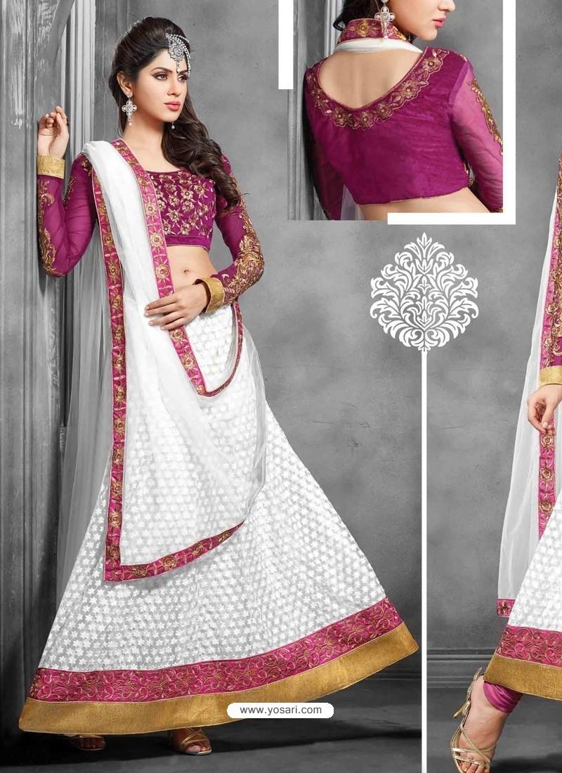 White And Magenta Net Designer Lehenga Choli