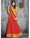 Red And Mustard Net Designer Lehenga Choli