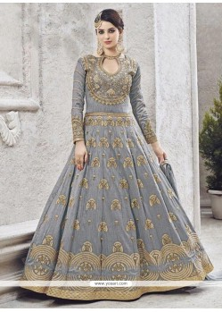 Grey Resham Work Art Silk Floor Length Anarkali Suit