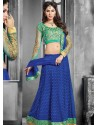 Green And Blue Net Designer Lehenga Choli