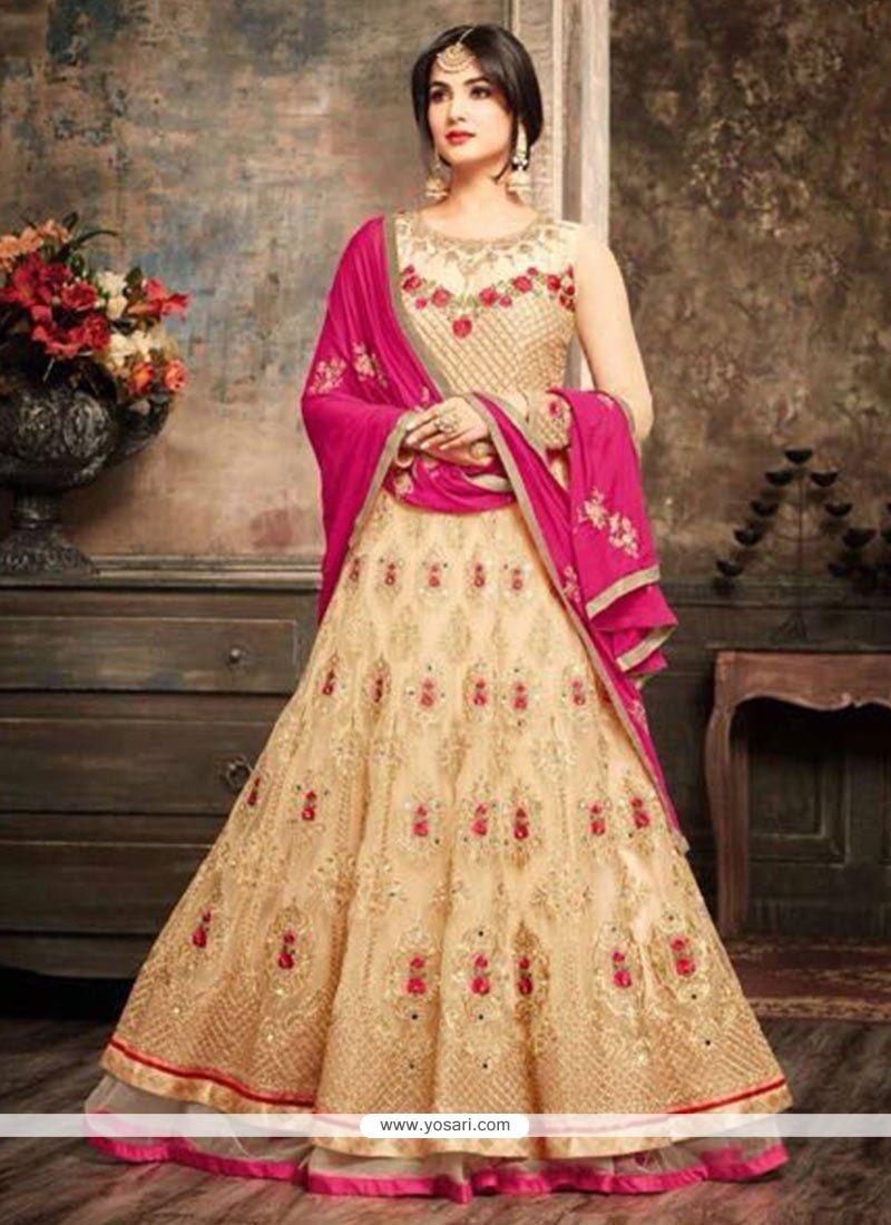 Buy Beige Floor Length Anarkali Suit Anarkali Suits