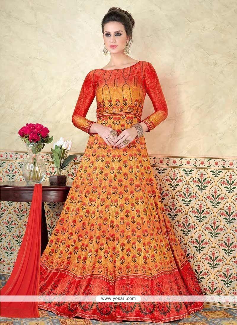 5ace640672 Buy Orange And Yellow Floor Length Anarkali Suit   Anarkali Suits