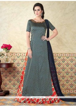 Cotton Satin Multi Colour Floor Length Anarkali Suit