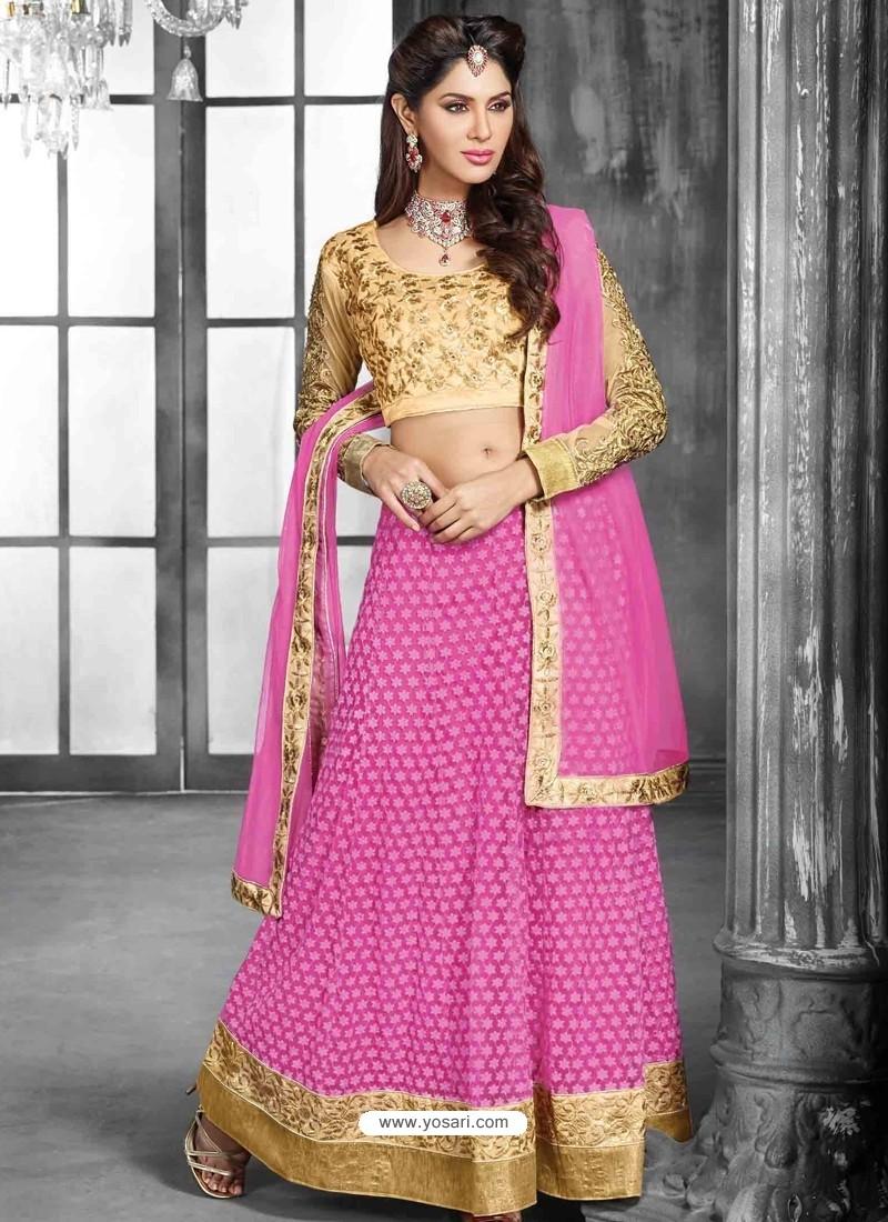 Pink And Cream Net Designer Lehenga Choli