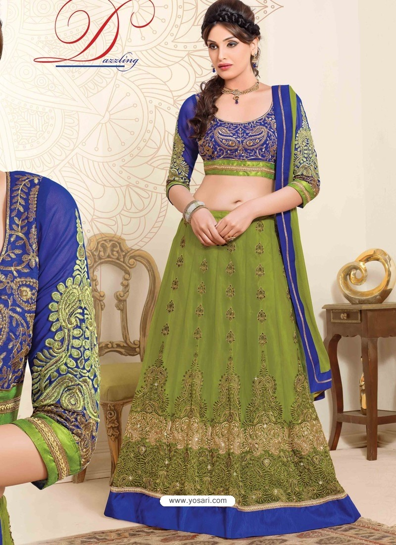 Green And Blue Net Designer Lehenga Choli