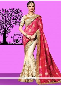 Cream And Pink Patch Border Work Jacquard Silk Designer Half N Half Saree