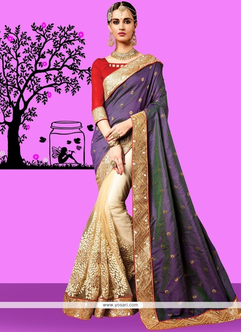 84d26f0561e1 Buy Cream And Navy Blue Embroidered Work Jacquard Silk Half N Half ...