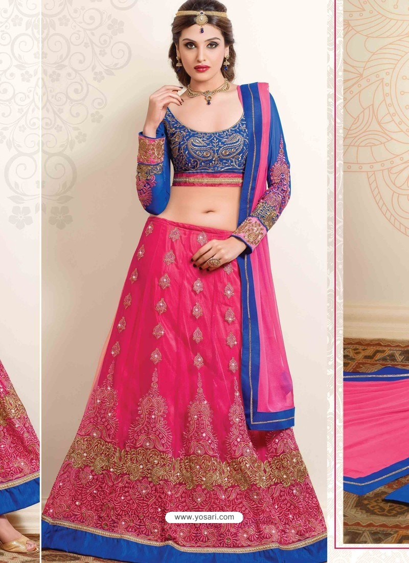 Magenta And Blue Net Designer Lehenga Choli