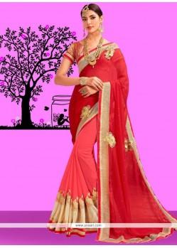 Patch Border Work Pink And Red Half N Half Designer Saree