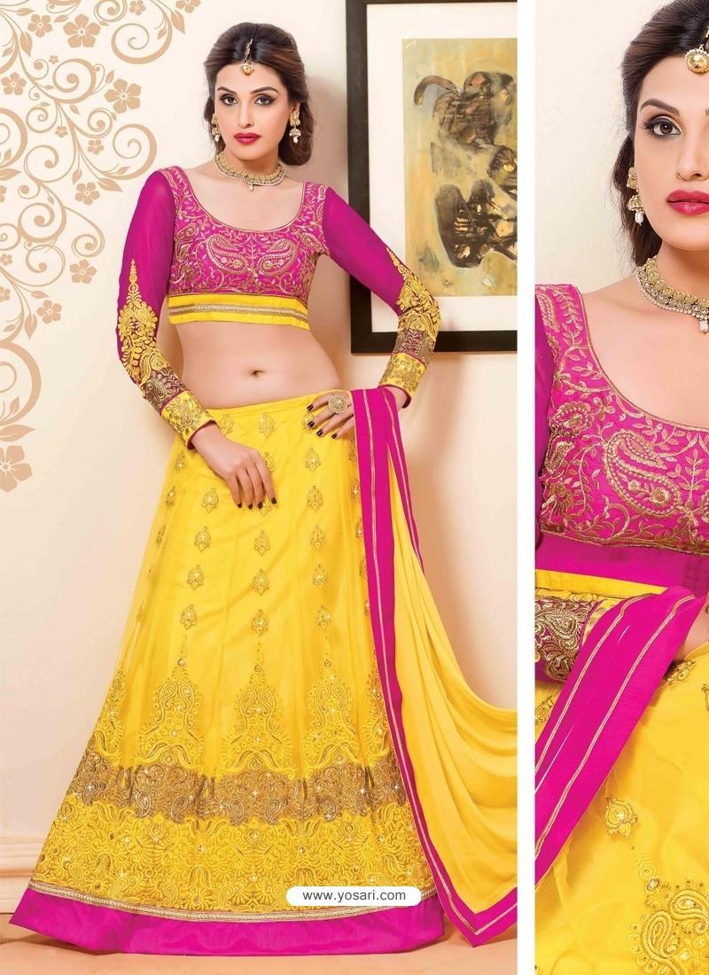 Pink And Yellow Net Designer Lehenga Choli