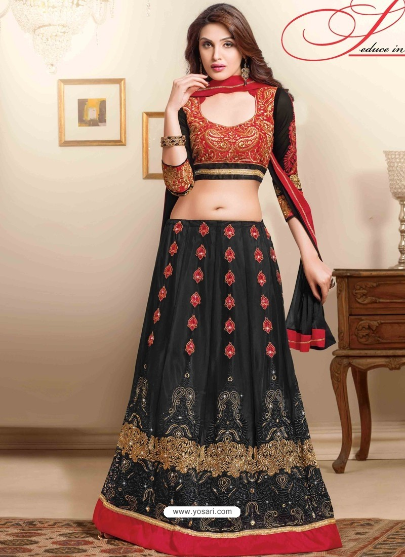 Red And Black Net Designer Lehenga Choli