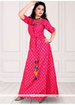 Hot Pink Party Wear Kurti