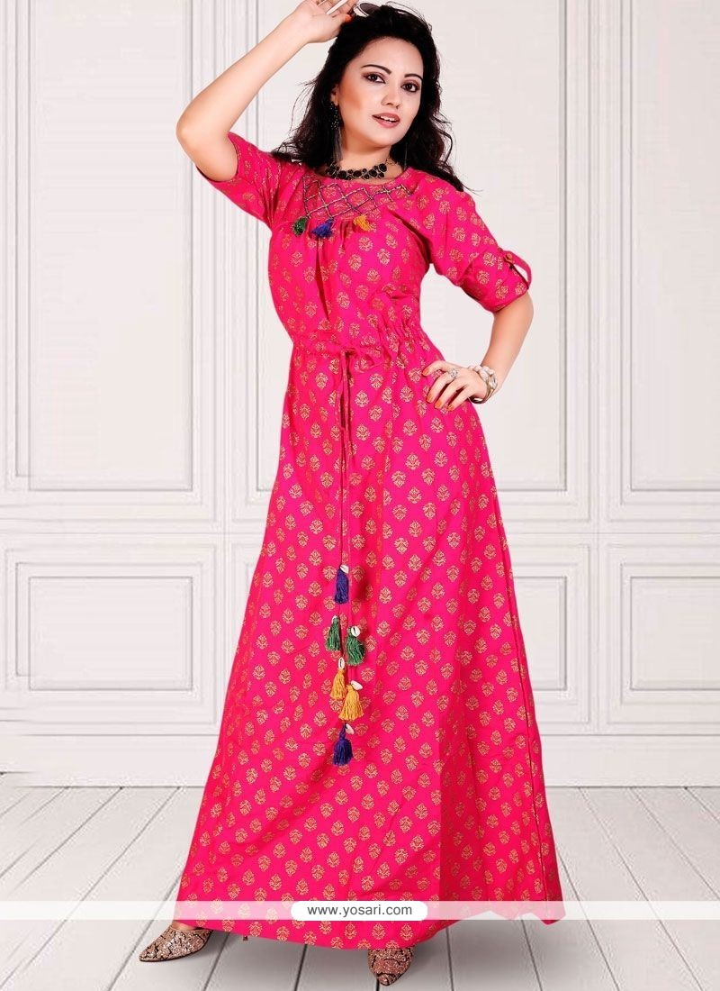 323cba63af49 Buy Hot Pink Party Wear Kurti | Party Wear Kurtis