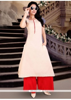 Cream Party Wear Kurti