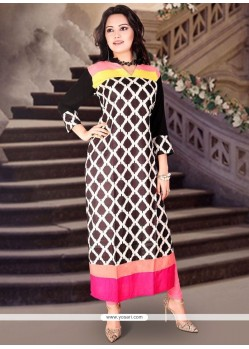 Rayon Black Print Work Party Wear Kurti