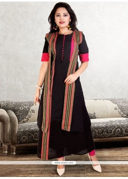 Polly Cotton Black Print Work Party Wear Kurti