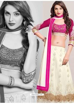 Magenta And White Net Designer Lehenga Choli