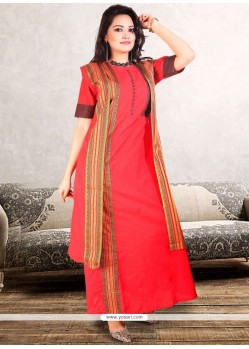 Print Work Red Polly Cotton Party Wear Kurti