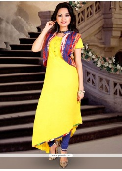 Print Work Yellow Rayon Party Wear Kurti
