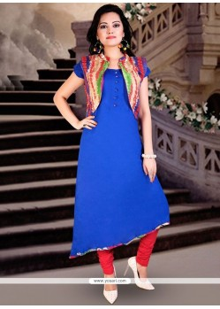 Print Work Blue Rayon Party Wear Kurti