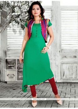 Rayon Green Print Work Party Wear Kurti