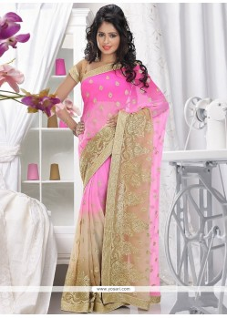 Charming Pink Faux Chiffon Saree