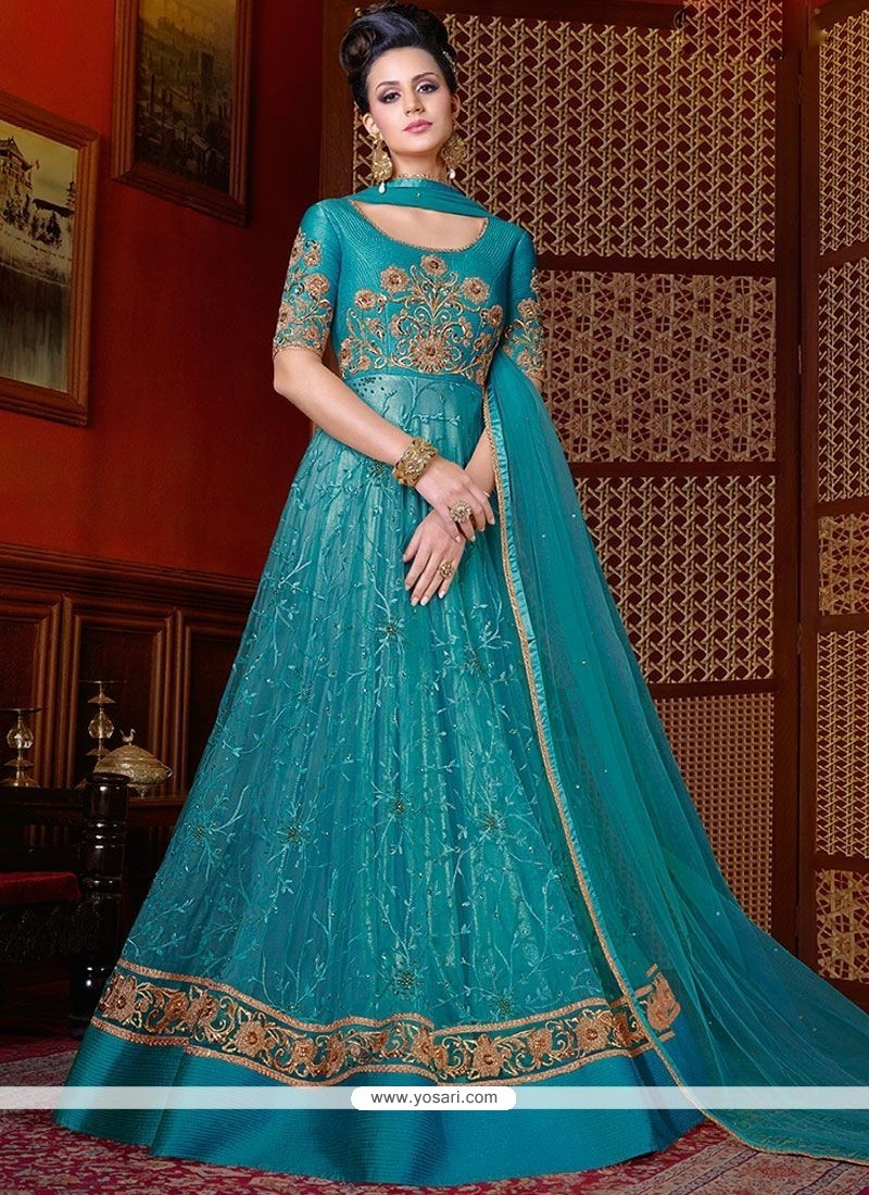 Buy Blue Lace Work Net Floor Length Anarkali Suit | Anarkali Suits