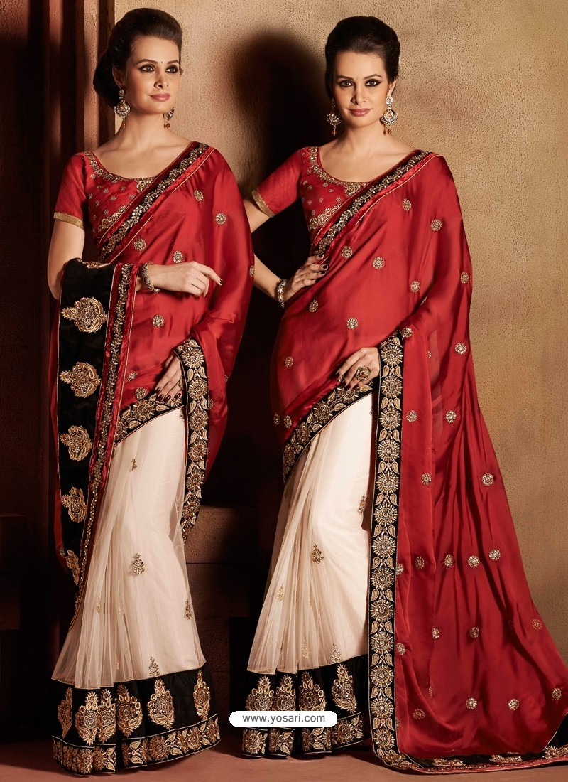 Red And White Satin Saree