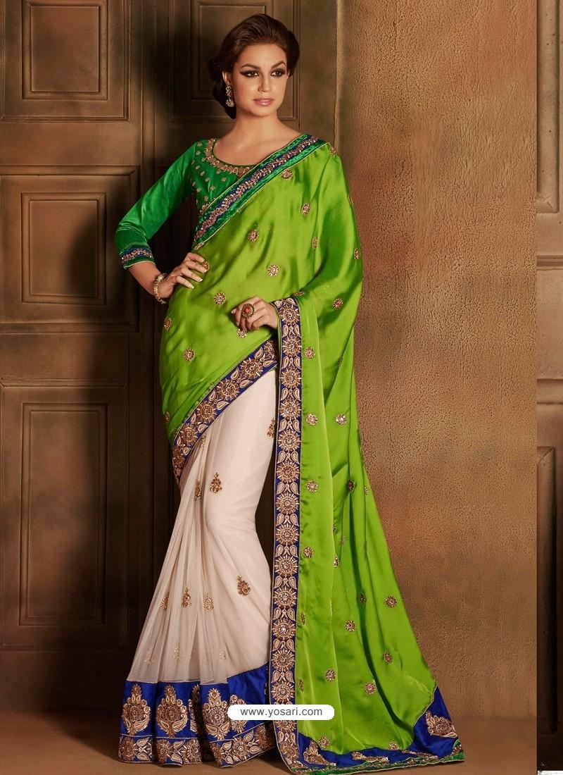 Green Satin Saree