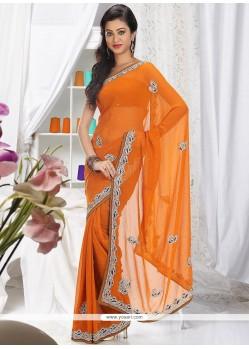 Fab Orange Shade Faux Chiffon Saree